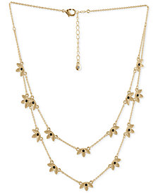 "RACHEL Rachel Roy Gold-Tone Stone Leaf Double-Row Station Necklace, 12-1/2"" + 2"" extender"