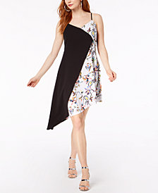 Bar III Colorblocked Sleeveless Asymmetrical-Hem Dress, Created for Macy's
