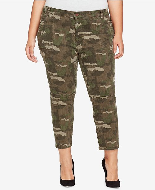 WILLIAM RAST Plus Size Camo-Print Cropped Skinny Pants