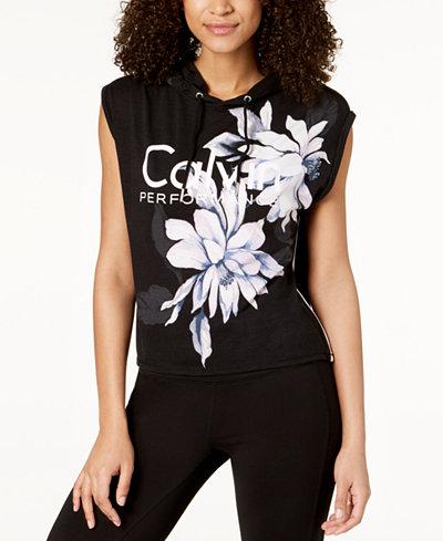 Calvin Klein Performance Floral-Print Sleeveless Cropped Hoodie