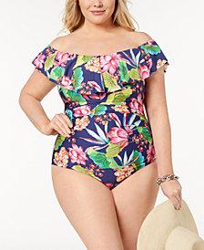 La Blanca Plus Size Bora Bora Tummy-Control Off-The-Shoulder One-Piece Swimsuit