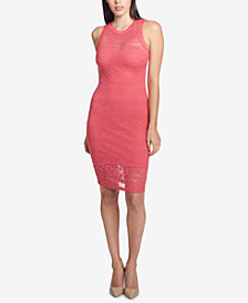 GUESS Illusion Lace Sweetheart Dress