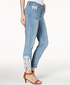 Style & Co Crochet Ankle Skinny Jeans, Created for Macy's