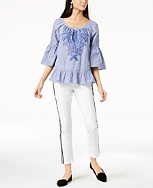 I.N.C. Cotton Embroidered Peasant Top & Side-Stripe Skinny Jeans, Created for Macy's