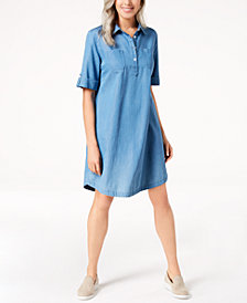 Karen Scott Chambray Shirtdress, in Regular and Petite, Created for Macy's
