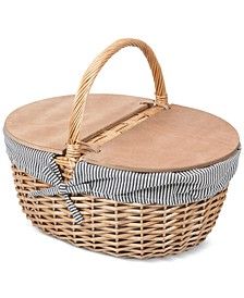 Country Navy & White Striped Picnic Basket