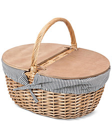 Picnic Time Country Navy & White Striped Picnic Basket