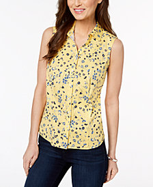 Charter Club Petite Printed Sleeveless Shirt, Created for Macy's