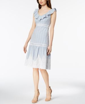 RUFFLE LACE-APPLIQUE TIERED DRESS