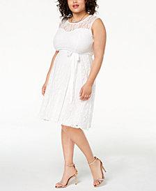 Soprano Trendy Plus Size Lace Fit & Flare Dress