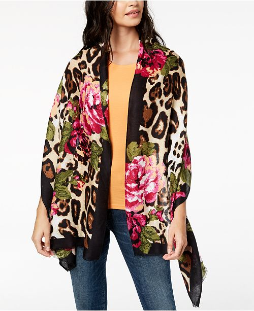 b837a8e9ed1f ... INC International Concepts I.N.C. Floral Leopard-Print Scarf & Wrap in  One, Created for ...