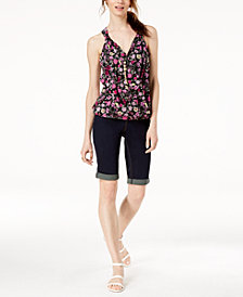 I.N.C. Floral-Print Surplice-Neck Top & Cuffed Denim Shorts, Created for Macy's