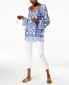 I.N.C. Printed Tie-Neck Tunic & Ripped Cropped Jeans, Created for Macy's