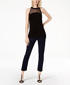 I.N.C. Mesh-Yoke Top & Skinny Jeans, Created for Macy's