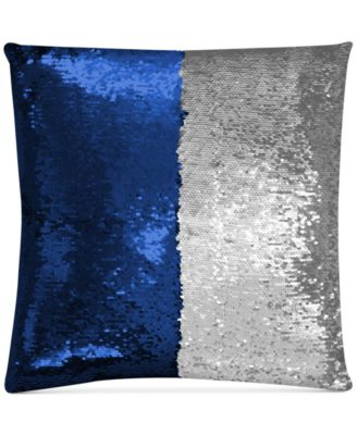 """Mermaid Colorblocked Royal Blue & Silver Sequin 18"""" Square Decorative Pillow"""
