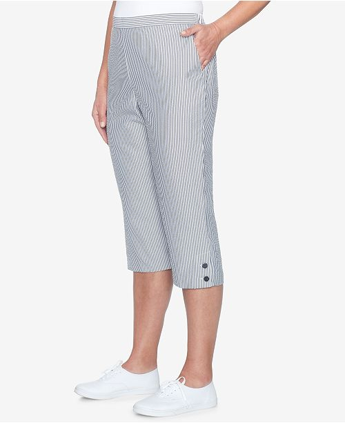 Dunner Capri Pants Black Seersucker Alfred Striped FYdqvW88