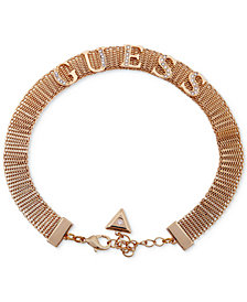 "GUESS Crystal Logo Mesh Choker Necklace, 12"" + 2"" extender"