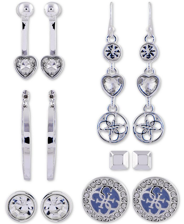 GUESS - Silver-Tone 6-Pc. Set Crystal Earrings