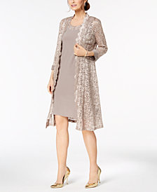 R & M Richards Midi Dress & Sequined Lace Jacket