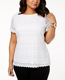 Charter Club Plus Size Lace Top, Created for Macy's