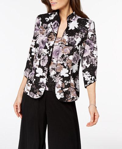 Alex Evenings Metallic Floral-Print Jacket & Shell, Regular & Petite Sizes