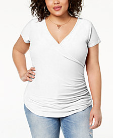 Planet Gold Trendy Plus Size Ruched Faux-Wrap Top