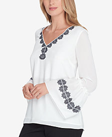 Tahari ASL Embroidered Flounce Top