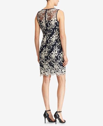 Lauren Ralph Lauren Sequin Floral-Embroidered Dress
