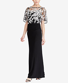 Lauren Ralph Lauren Embroidered-Overlay Jersey Gown