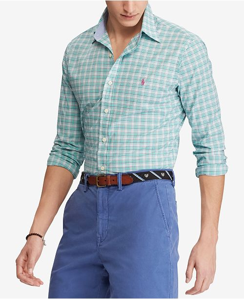 76b9d67294cf Polo Ralph Lauren Men s Slim Fit Plaid Stretch Shirt   Reviews ...