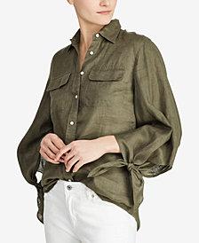 Lauren Ralph Lauren Tie-Sleeve Linen Blouse