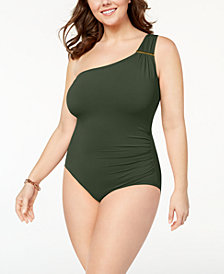 MICHAEL Michael Kors Plus Size Tummy-Control One-Shoulder One-Piece Swimsuit