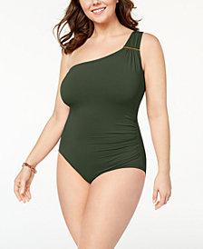 MICHAEL Michael Kors Plus Size Tummy-Control One-Shoulder One-Piece Swimsuit