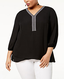 JM Collection Plus Size Crisscross-Hem Top, Created for Macy's