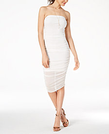 Material Girl Juniors' Ruched Strapless Midi Bodycon Dress, Created for Macy's