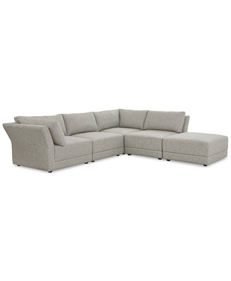 """Mylie 5 Pc. Fabric """"L"""" Shaped Modular Sofa With Ottoman, Created For Macy's by Mylie Fabric Modular Sofa Collection, Created For Macy's"""