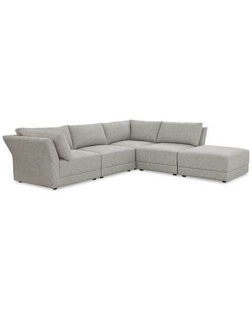 Furniture Closeout Mylie 5 Pc Fabric L Shaped Modular Sofa With