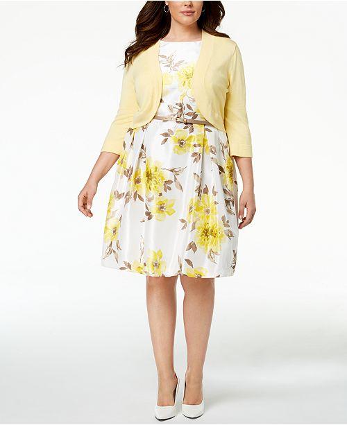 Jessica Howard Plus Size Belted Floral Print Dress Shrug Cardigan