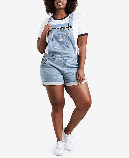 25fe0e90619 Levi s Plus Size Cotton Denim Overalls   Reviews - Shorts - Plus ...