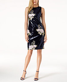 Vince Camuto Embroidered Sequined Dress