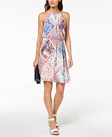 Tommy Hilfiger Printed Cutaway Dress, Created for Macy's