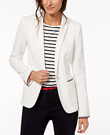 Tommy Hilfiger Striped-Trim Blazer, Created for Macy's