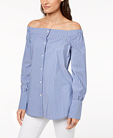 Tommy Hilfiger Off-The-Shoulder Shirt, Created for Macy's