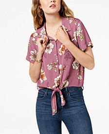 Gypsies & Moondust Juniors' Printed Tie-Front Button-Up Shirt