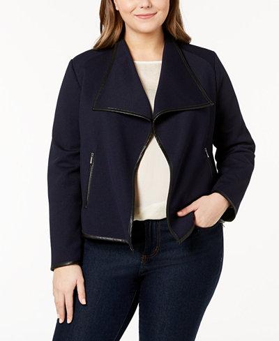 Calvin Klein Plus Size Faux-Leather-Trim Jacket