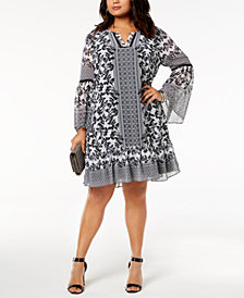 I.N.C. Plus Size Bell-Sleeve Dress, Created for Macy's