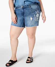 I.N.C. Plus Size Embroidered Tummy-Control Denim Shorts, Created for Macy's