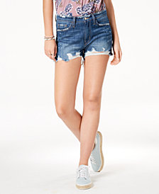 Flying Monkey Ripped Cotton Denim Shorts