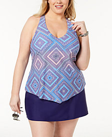 Island Escape Plus Size Printed Halter Tankini Top & Tummy-Control Swim Skirt, Created for Macy's