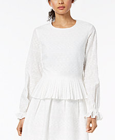 Nine West Eyelet-Lace Pleated-Hem Top